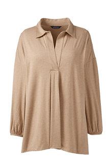 Shirt aus Baumwoll/Modalmix, V-Ausschnitt und Vorderfalte
