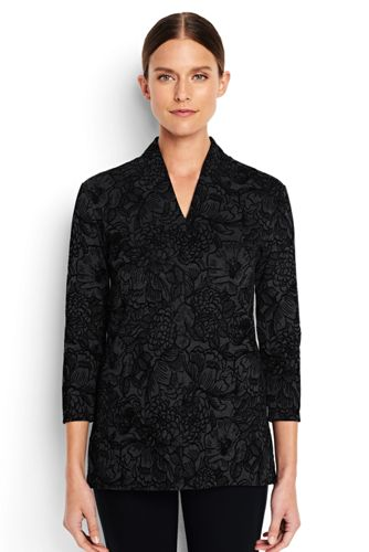 Women's Regular Flocked Ponte Patterned Tunic