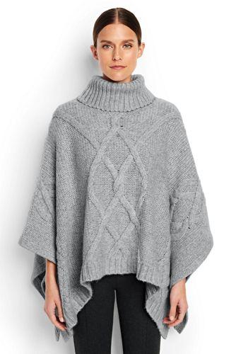 Women's Regular Wool Blend Aran Cape
