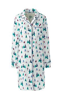 Gemustertes Flanell-Nachthemd für Damen
