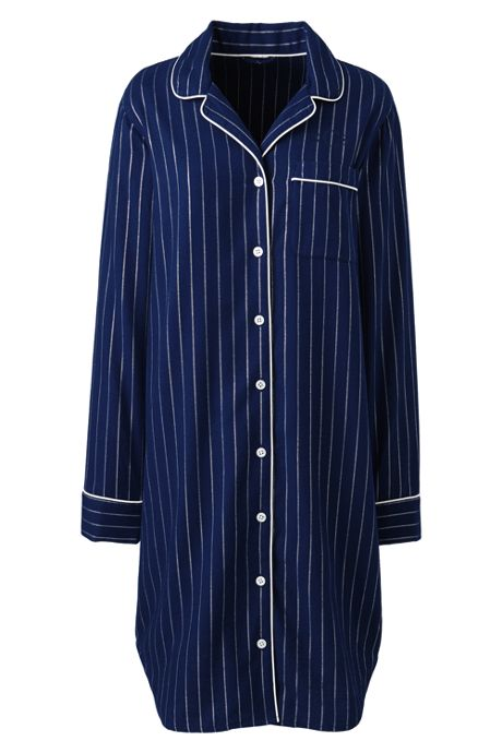 Women's Plus Size Long Sleeve Print Flannel Nightshirt