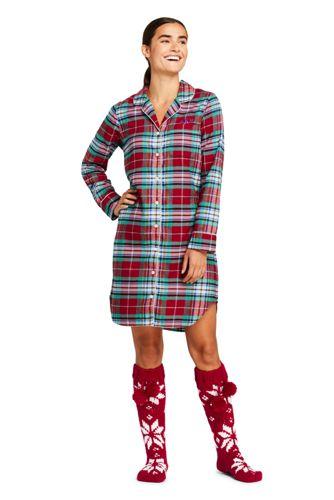 Women's Petite Long Sleeve Print Flannel Nightshirt