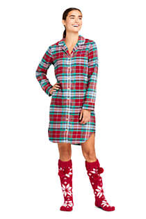 Women's Petite Long Sleeve Print Flannel Nightshirt, Unknown