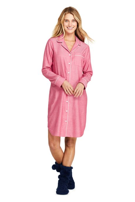 Women's Tall Long Sleeve Print Flannel Nightshirt
