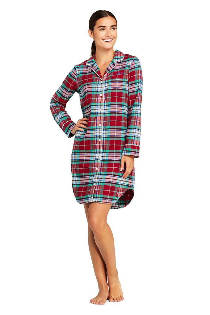 Women's Long Sleeve Print Flannel Nightshirt - Lands' End - Red - XL