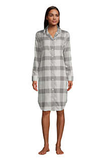 Women's Petite Long Sleeve Print Flannel Nightshirt, Front