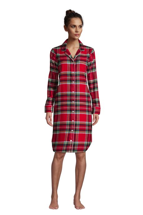 Women's Petite Long Sleeve Print Flannel Nightshirt