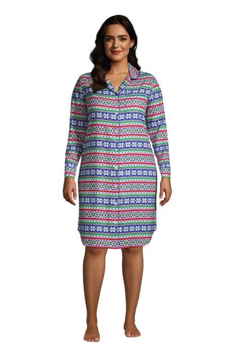 Women's Plus Size Long Sleeve Print Flannel Nightshirt