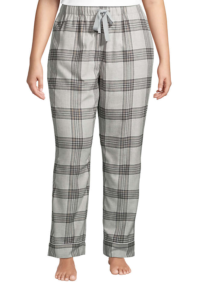 Women's Plus Size Print Flannel Pajama Pants, Front