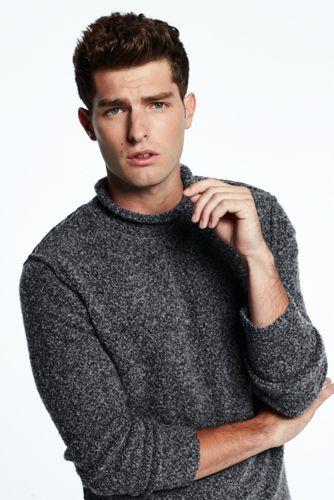 Merino-Pullover mit gerolltem Ausschnitt für Herren