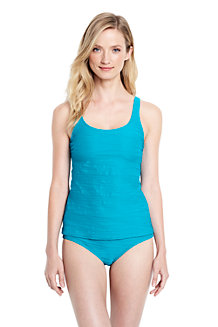 Women's Textured Scoopneck Tankini Top