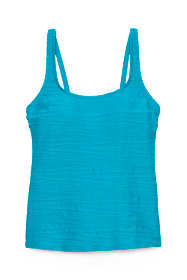 Women's D-Cup Texture Scoop Tankini Top