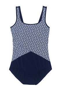 Women's Petite Tugless One Piece Swimsuit Soft Cup Print, Front