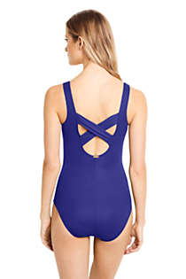 Women's Long Slender Carmela Tummy Control Chlorine Resistant Scoop Neck One Piece Swimsuit, Back