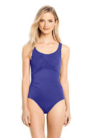 Women's Petite Slender Carmela Tummy Control Chlorine Resistant Scoop Neck One Piece Swimsuit