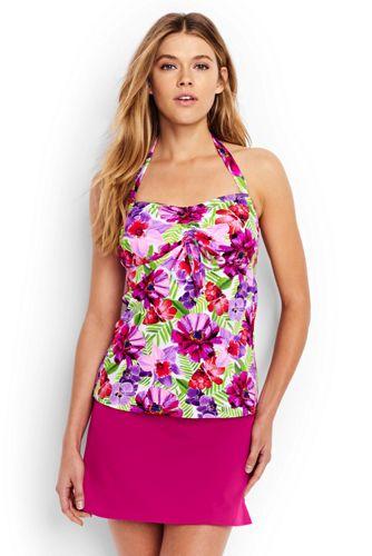 Women's Regular Beach Living Floral Bandeau Halterneck Tankini Top