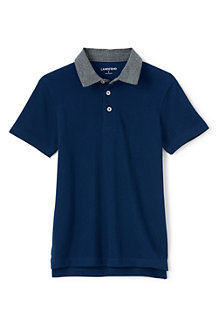 Boys' Chambray Collar Piqué Polo