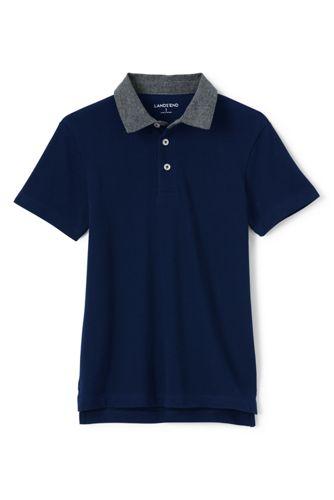 Boys' Chambray Collar Piqué Polo Shirt