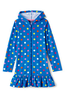 Girls Long Sleeve Patterned Hooded Beach Cover Up