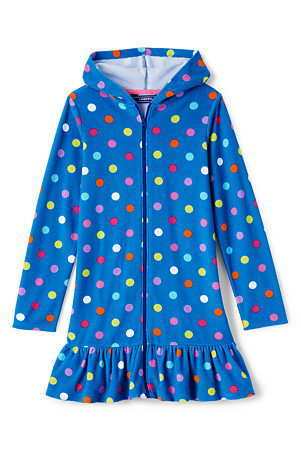 038d6cc7c2 Girls Long Sleeve Patterned Hooded Beach Cover Up | Lands' End