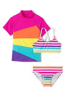 RashGuard Bikini und Badeshirt, 3-teiliges Set für Mädchen