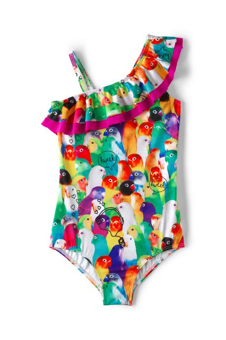 Girls Slim Ruffle One Piece Swimsuit