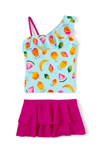 Girls Skirted Tankini Swimsuit Set From Lands End