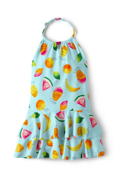 Girls Slim Lush Tropics Shirred Halter One Piece