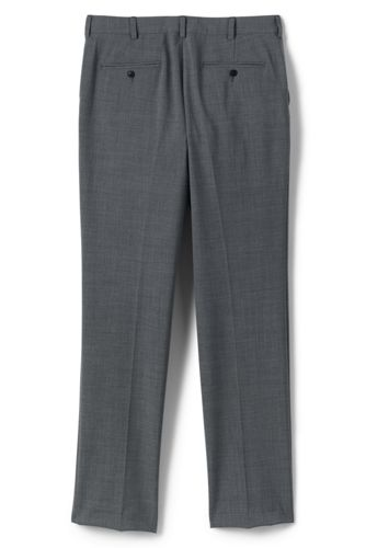 Men Big Washable Wool Tailored Plain Front Trousers