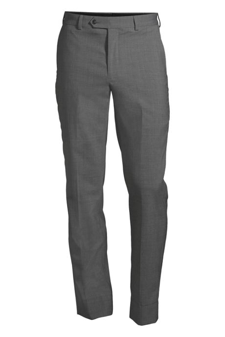 Men's Washable Wool Tailored Plain Front Trousers