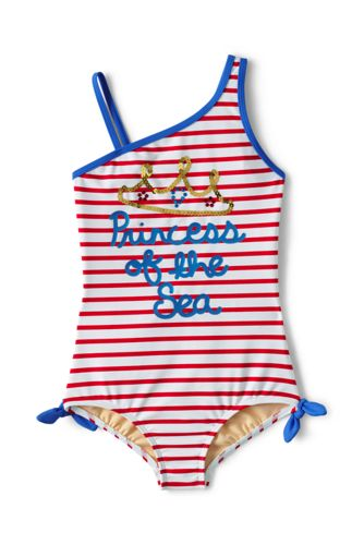 Little Girls' One Shoulder Swimsuit
