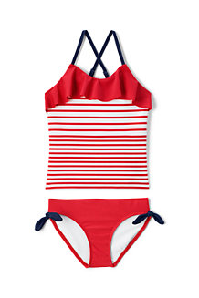 Girls' Stripe Ruffle Tankini