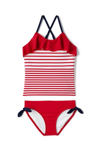Little Girls' Stripe Ruffle Tankini