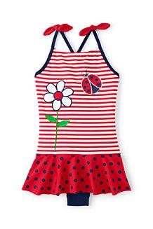 Badeanzug mit Röckchen, Marienkäfer und Blumen, für Mädchen