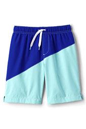 Little Boys Slim Diagonal Colorblock Swim Trunks-Electric Blue
