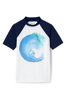 Boys' Short Sleeve Colourblock Graphic Rash Vest