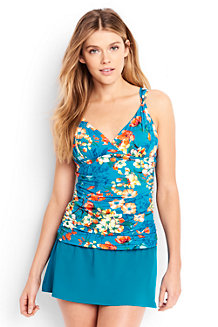 Women's Costa D'Oro Ruched Floral V-neck Tankini Top