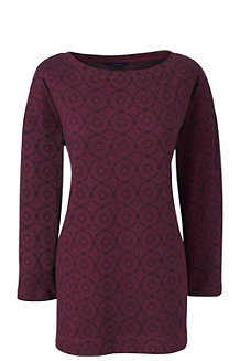 Women's Three Quarter Sleeve Print Boatneck Tunic