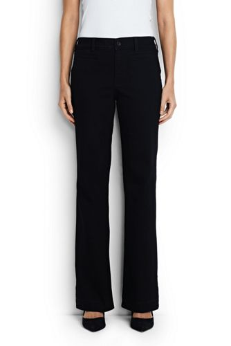 Women's Mid Rise Black Denim Trouser Leg Jeans