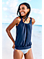 Women's Regular Beach Living Pleated Blouson Tankini Top