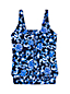 Women's Regular Beach Living Pleated Blouson Scroll Pattern Tankini Top