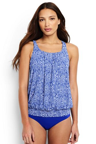 Women's Regular Beach Living Pleated Blouson Paisley Print Tankini Top