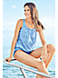 Women's D-Cup Beach Living Pleated Blouson Paisley Print Tankini Top
