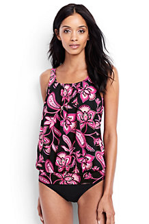 Women's Beach Living Pleated Blouson Twilight Floral Tankini Top