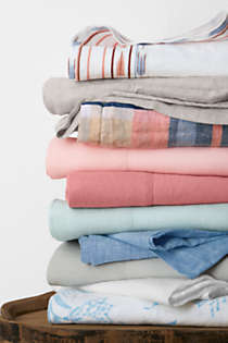 Garment Washed Linen Solid Sheets, Top
