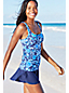 Women's Regular Beach Living Squareneck Scroll Pattern Tankini Top
