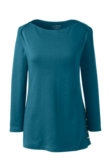 Women Plus Size 3/4 Sleeve Button Hem Top