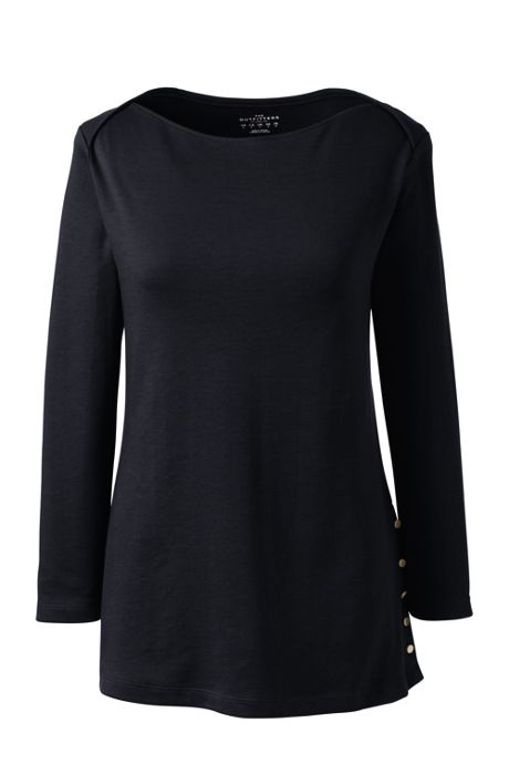Women's Cotton Polyester Three Quarter Sleeve Button Hem Top