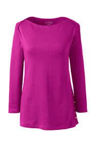 Women's 3/4 Sleeve Button Hem Top