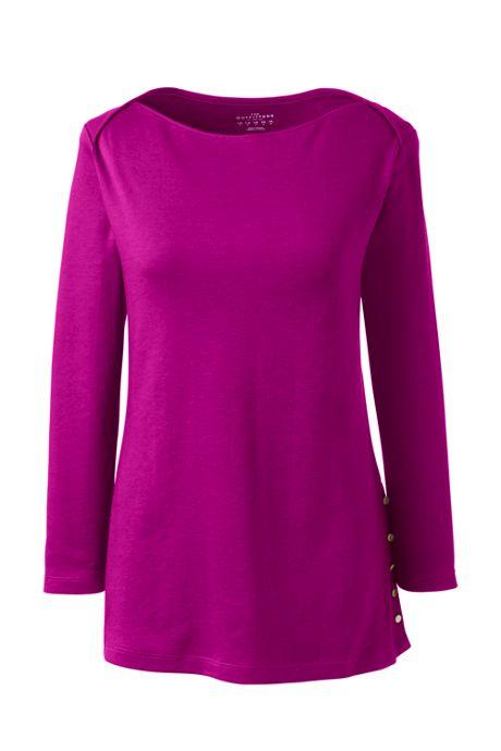 Women Plus Size 3/4 Sleeve Button Hem Top